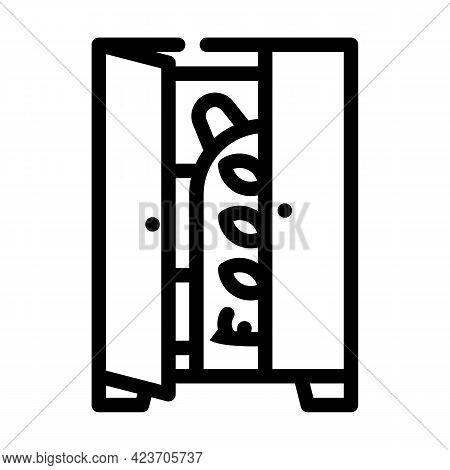 Monster In Wardrobe Fear Line Icon Vector. Monster In Wardrobe Fear Sign. Isolated Contour Symbol Bl