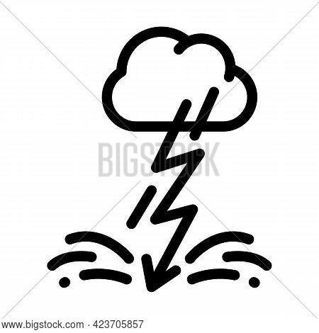 Lightning Fear Line Icon Vector. Lightning Fear Sign. Isolated Contour Symbol Black Illustration