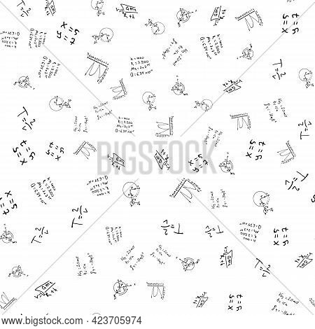 Flat Monochrome Vector Seamless Mathematical Motif Pattern. Cute Doodle With Algebraic Expressions A