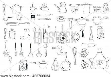 Kitchenware Outline Doodle Line Art Clipart. Vector Illustration.
