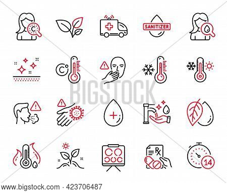 Vector Set Of Healthcare Icons Related To Dont Touch, Oil Serum And Quarantine Icons. Cough, Thermom