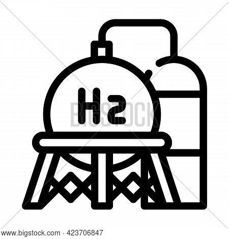 Storage Hydrogen Tank Line Icon Vector. Storage Hydrogen Tank Sign. Isolated Contour Symbol Black Il