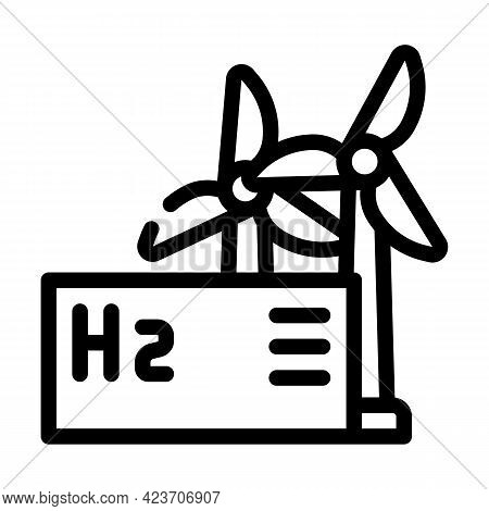 Wind Energy Hydrogen Production Line Icon Vector. Wind Energy Hydrogen Production Sign. Isolated Con