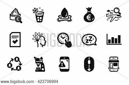 Vector Set Of Water Splash, Time Management And Money Bag Icons Simple Set. Microscope, Warning Mess