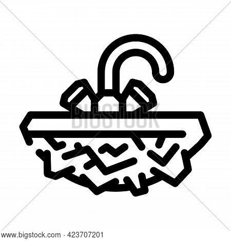 Solid Stone Washbasin Line Icon Vector. Solid Stone Washbasin Sign. Isolated Contour Symbol Black Il