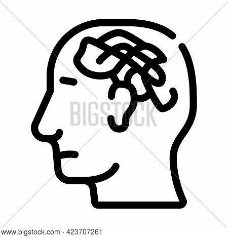 Confused Thoughts Line Icon Vector. Confused Thoughts Sign. Isolated Contour Symbol Black Illustrati