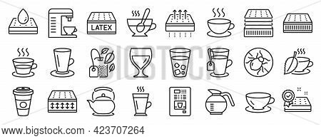 Set Of Interiors Icons, Such As Cappuccino, Latte, Tea Icons. Waterproof Mattress, Mint Bag, Coffee