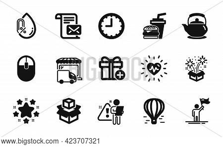 Vector Set Of Add Gift, Stars And Fireworks Icons Simple Set. Heartbeat, Search Employee And Packing