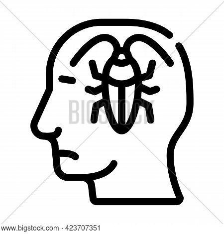 Cockroaches In Head, Neurosis Problem Line Icon Vector. Cockroaches In Head, Neurosis Problem Sign.