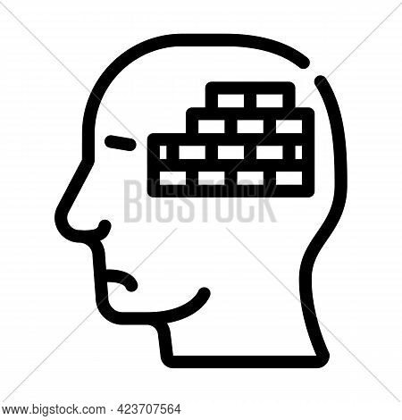 Wall Neurosis Problem Line Icon Vector. Wall Neurosis Problem Sign. Isolated Contour Symbol Black Il