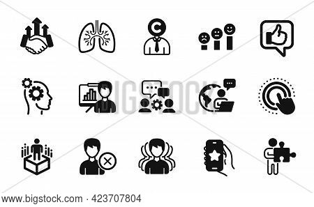 Vector Set Of Augmented Reality, Presentation Board And Customer Satisfaction Icons Simple Set. Thou