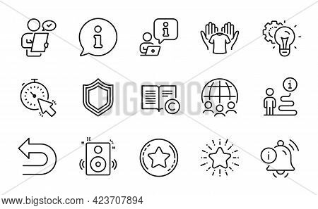 Business Icons Set. Included Icon As Security, Speakers, Global Business Signs. Loyalty Star, Star,