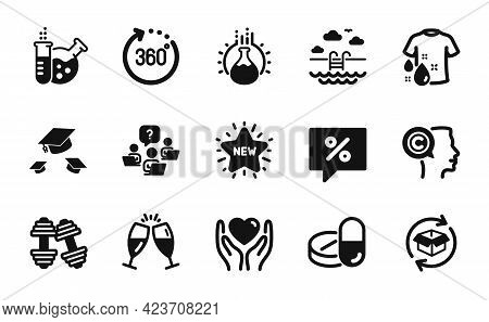 Vector Set Of Swimming Pool, Throw Hats And Chemistry Lab Icons Simple Set. Champagne Glasses, Dumbb