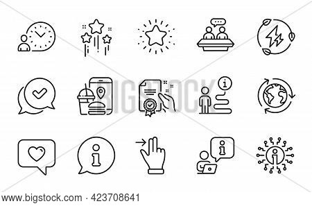 Technology Icons Set. Included Icon As Info, Touchscreen Gesture, Employees Talk Signs. Twinkle Star