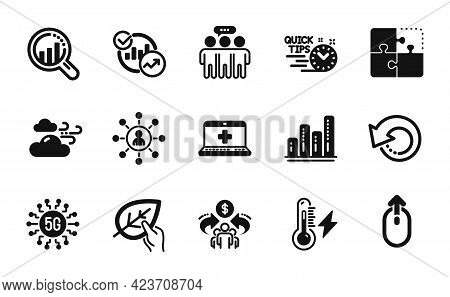 Vector Set Of Sharing Economy, Puzzle And Medical Help Icons Simple Set. Swipe Up, Statistics And Qu