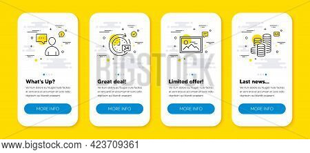 Vector Set Of 24h Delivery, Photo And Users Chat Line Icons Set. Ui Phone App Screens With Line Icon