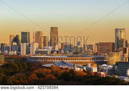 Tokyo, Japan - March 11: Sunset Of View Of The New Olympic Stadium, Roppongi Famous Skyline And The