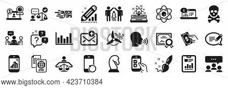 Set Of Education Icons, Such As Partnership, Human Sing, Message Icons. Certificate, Edit Statistics