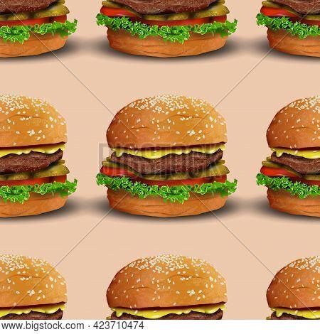 Realistic Burger Vector Seamless Pattern Illustration. Classic American Hamburger Fast Food Vector