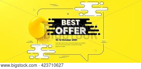 Best Offer Text. Quote Chat Bubble Background. Special Price Sale Sign. Advertising Discounts Symbol