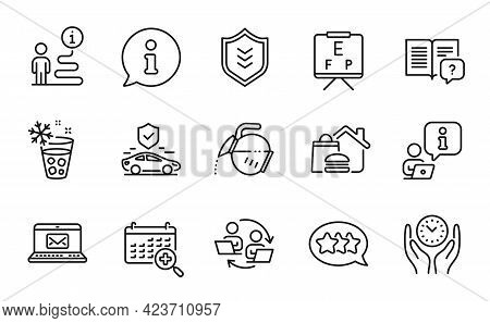 Business Icons Set. Included Icon As Stars, Ice Maker, Medical Calendar Signs. Coffee Pot, Shield, T