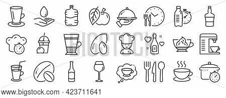 Set Of Food And Drink Icons, Such As Boiling Pan, Bordeaux Glass, Cooking Timer Icons. Double Latte,