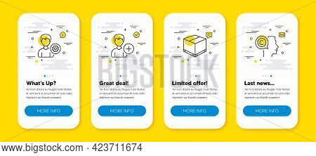 Vector Set Of Add Person, Support And Delivery Box Line Icons Set. Ui Phone App Screens With Line Ic