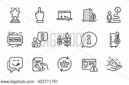 Business Icons Set. Included Icon As Yummy Smile, Internet Warning, Refrigerator Signs. Middle Finge