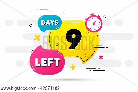 Nine Days Left Icon. Countdown Number On Abstract Flow Pattern. 9 Days To Go Sign. Count Offer Date