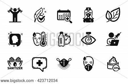 Vector Set Of Hypoallergenic Tested, Eye Laser And Medical Mask Icons Simple Set. Leaf, Medical Chat