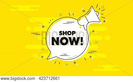 Shop Now Text. Alert Megaphone Yellow Chat Banner. Special Offer Sign. Retail Advertising Symbol. Sh