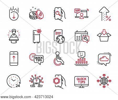 Vector Set Of Technology Icons Related To Spanner, 24 Hours And Teamwork Question Icons. Swipe Up, I