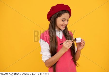 Happy Teen Girl In French Beret Apply Blush With Powder Bwush, Blush