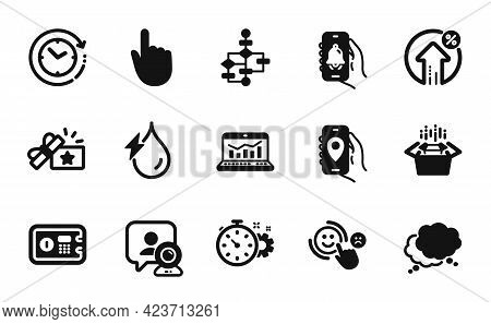 Vector Set Of Hydroelectricity, Time Change And Bell Alert Icons Simple Set. Packing Boxes, Loyalty