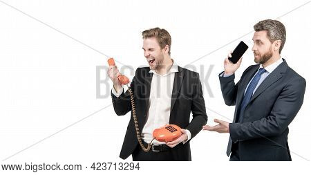 Lawyer With Cellphone Look At Angry Broker Shouting In Telephone Receiver, Bad Connection