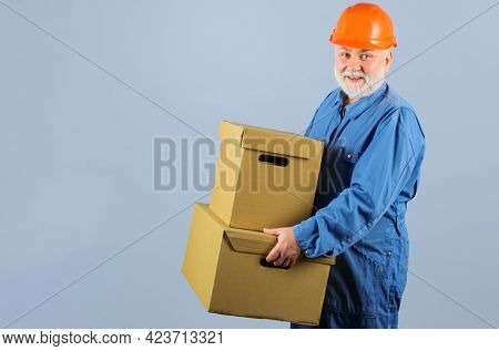 Bearded Man With Cardboard Boxes. Delivery From Store. Online Shopping. Shipment.