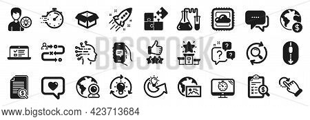 Set Of Technology Icons, Such As Cloud Computing, Rotation Gesture, Video Conference Icons. Timer, C