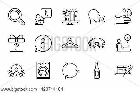 Line Icons Set. Included Icon As Sunglasses, Creative Design, Copyright Laptop Signs. Secret Gift, R