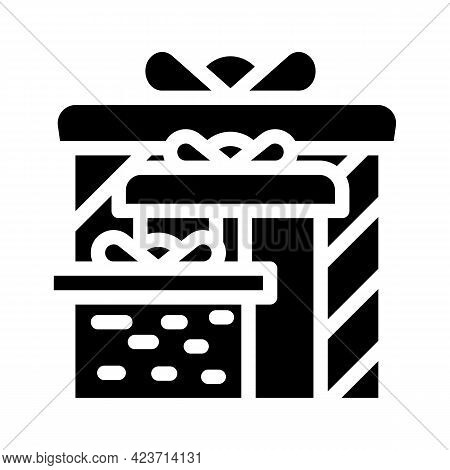 Gift Wedding For Groom And Bride Glyph Icon Vector. Gift Wedding For Groom And Bride Sign. Isolated