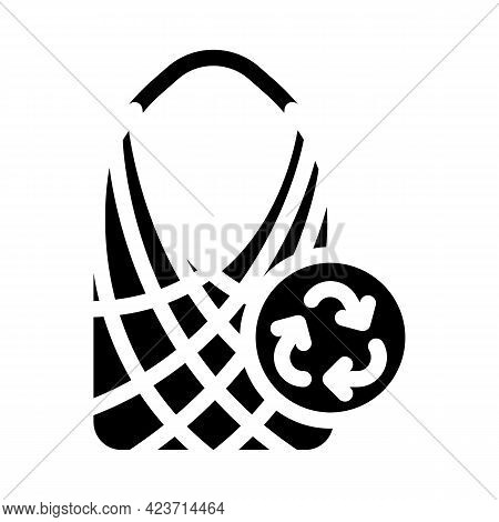 String Bag Zero Waste Glyph Icon Vector. String Bag Zero Waste Sign. Isolated Contour Symbol Black I