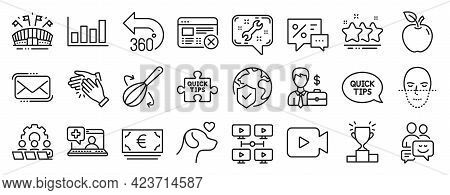 Set Of Business Icons, Such As Report Diagram, Teamwork, Stars Icons. World Insurance, Communication
