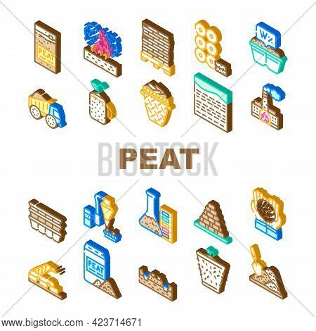 Peat Fuel Production Collection Icons Set Vector. Thermal Power Plant And Manufacturing Factory, Tru