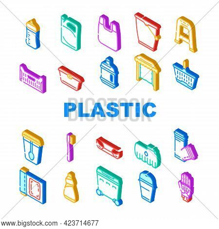 Plastic Accessories Collection Icons Set Vector. Bumper Car Part And Polypropylene Pipes, Plastic Fo