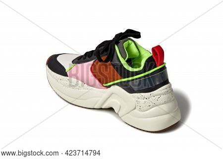 Close-up View Of The Back Of A Bright Fashionable Sneaker. Shoes For Sports.