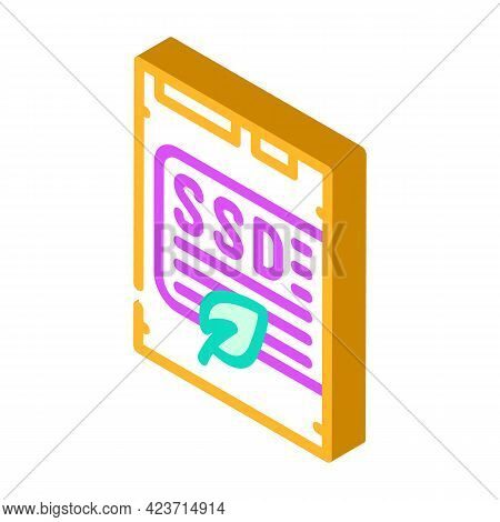 Ssd Card Device For Storage Chia Cryptocurrency Isometric Icon Vector. Ssd Card Device For Storage C