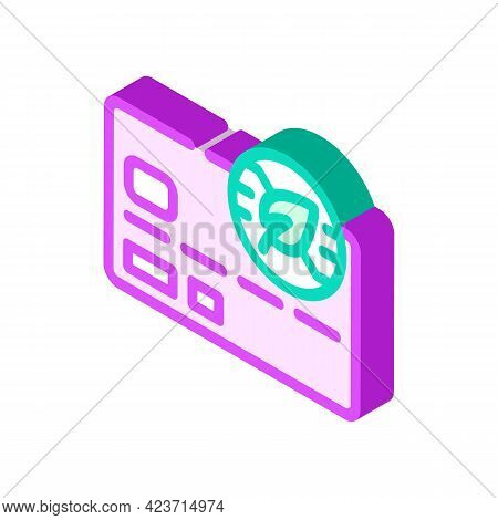 Bank Plastic Card With Chia Cryptocurrency Isometric Icon Vector. Bank Plastic Card With Chia Crypto