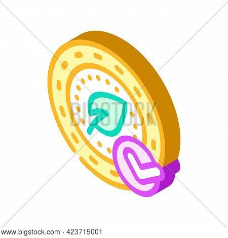 Coin Chia Cryptocurrency Isometric Icon Vector. Coin Chia Cryptocurrency Sign. Isolated Symbol Illus