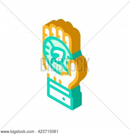 Hand Holding Chia Cryptocurrency Coin Isometric Icon Vector. Hand Holding Chia Cryptocurrency Coin S
