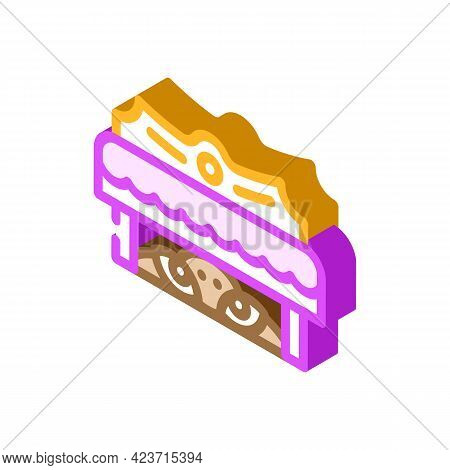 Monster Under Bed Fear Isometric Icon Vector. Monster Under Bed Fear Sign. Isolated Symbol Illustrat