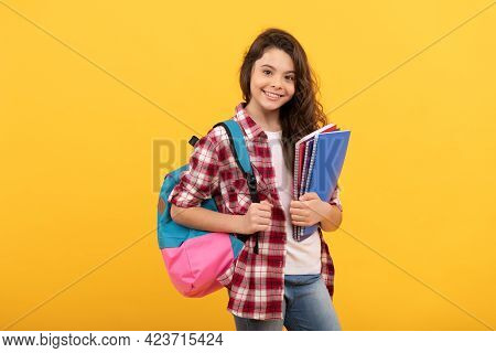 Day In High School. Schoolgirl With Notebook And Backpack. Back To School. Teen Girl Ready To Study